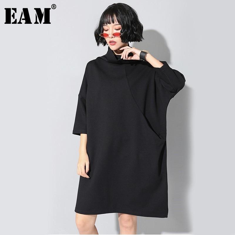 [EAM] Women Black Brief Big Size Dress New Turtleneck Three-quarter Sleeve Loose Fit Fashion Tide Spring Autumn 2020 JL230