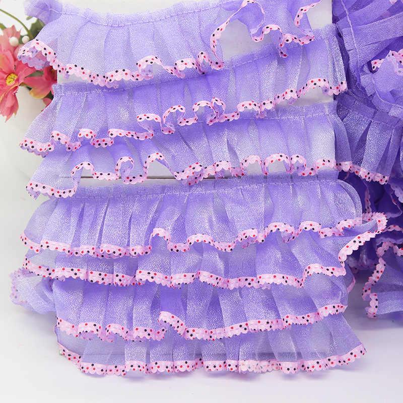 Ajuste de encaje de gasa de tela para coser vestido de niña muñecas costura DIY accesorios hechos a mano 1 yarda JA72
