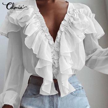 S-5XL Frauen Mode Bluse Celmia 2020 Sommer Frühling Langarm Rüschen Sexy Tiefem V-ausschnitt Elegante Büro Party Blusas Kleidung 7