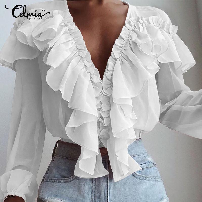 S-5XL Women Fashion Blouse Celmia 2019 Summer Spring Long Sleeve Ruffles Sexy Deep V-Neck Elegant Office Party Blusas Clothes 7