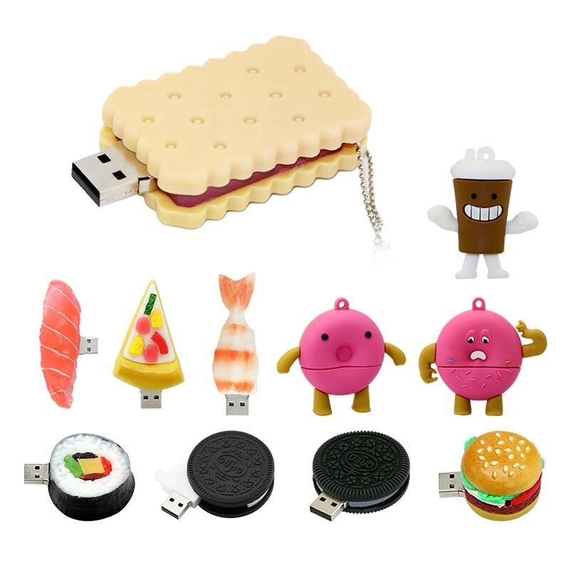 Hamburger kişiselleştirilmiş Pendrive 256 64 8 gb gıda kahve USB Flash sürücü 4GB 16GB 8 GB kalem sürücü 64GB 32GB 128GB Memory Stick hediye