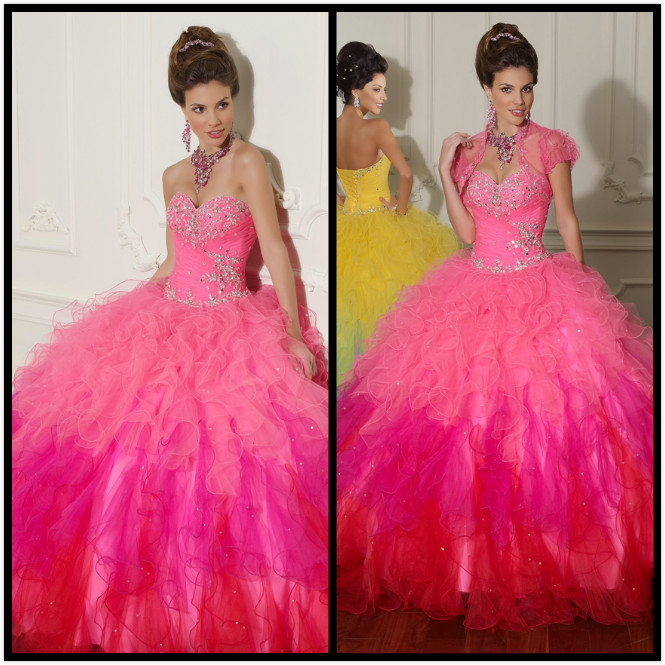 Korean High Waisted Plus Size Birthday Cheap Sweet Long Ball Gown Quinceanera Princess Pink Yellow Mother Of The Bride Dresses