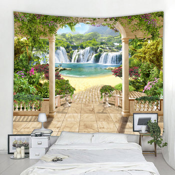 Beautiful forest wall hanging waterfall HD landscape 3d printing digital home decoration tapestry