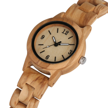 Exquisite Quartz Wooden Watch for Women Handmade Wood Strap Simple Small Dial Clock Luminous Pointers Wristwatch reloj mujer