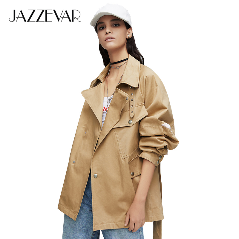 JAZZEVAR 2019 New Arrival Autumn Trench Coat Women Green Color Fashion Cotton Double Breasted Short Outerwear High Quality 9017