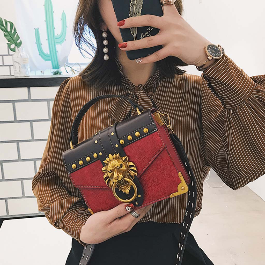 H386da0d5706044a48d6463d4156d8bb37 - Handbags Women Bags  Golden Lion Tote Bag With Zipper Fashion Metal Head Shoulder Bag Mini Square Crossbody Bag G3