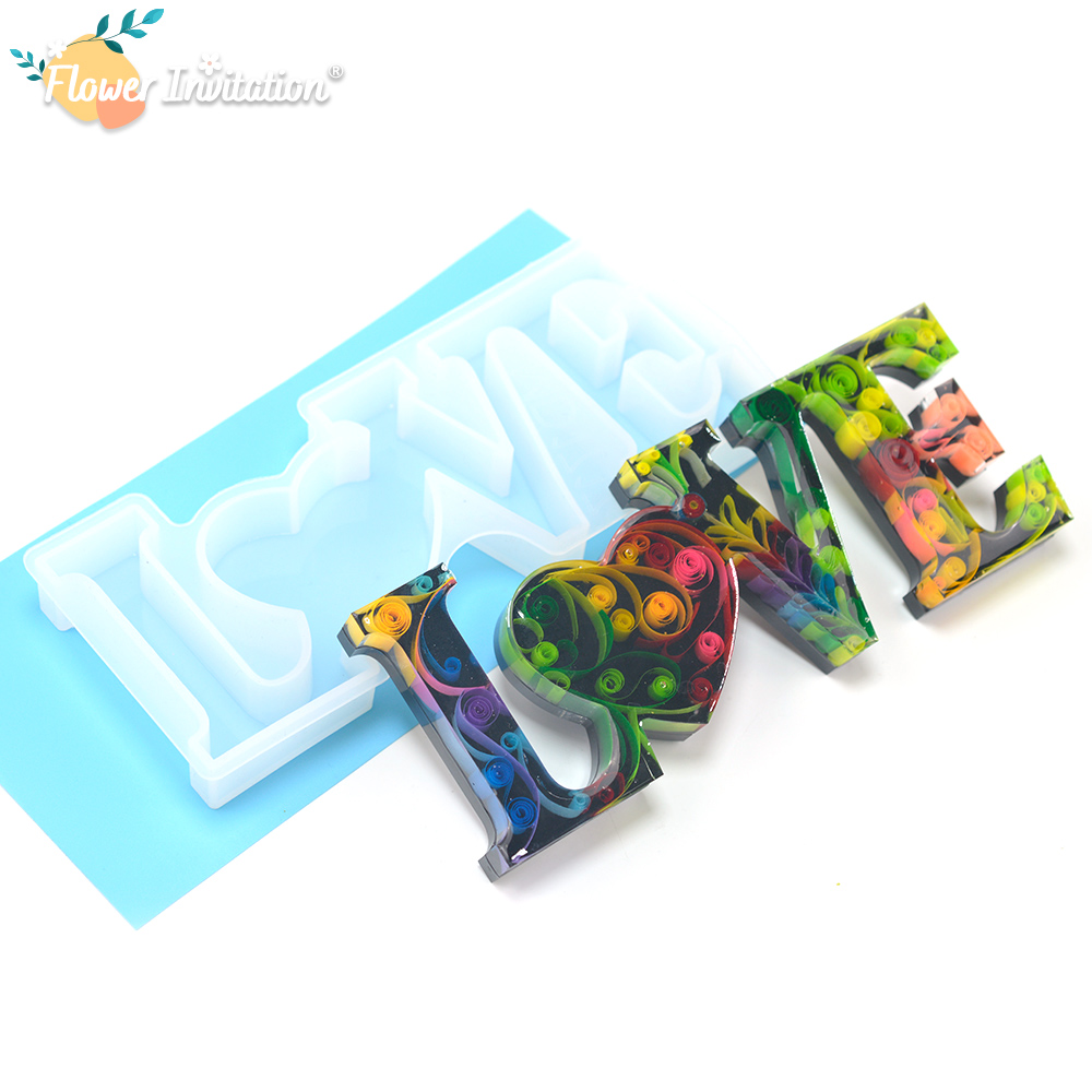 Hot Sell Resin Silicone Mold Letter Mould Dried Flowers Big LOVE Mold For Sale MD1717
