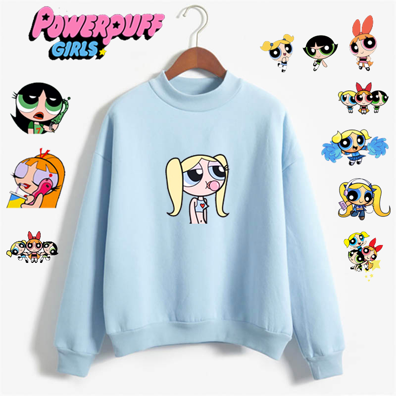 Buttercup Powerpuff Aesthetic Round Neck Pullover Long Sleeve Casual Unisex Sweatshirt Hoodie Harajuku Hip Hop Leisure Sweatshir