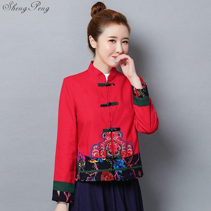 Traditional Chinese Blouse Shirt Tops For Women Mandarin Collar Oriental Linen Shirt Blouse Female Elegant Clothing V1737
