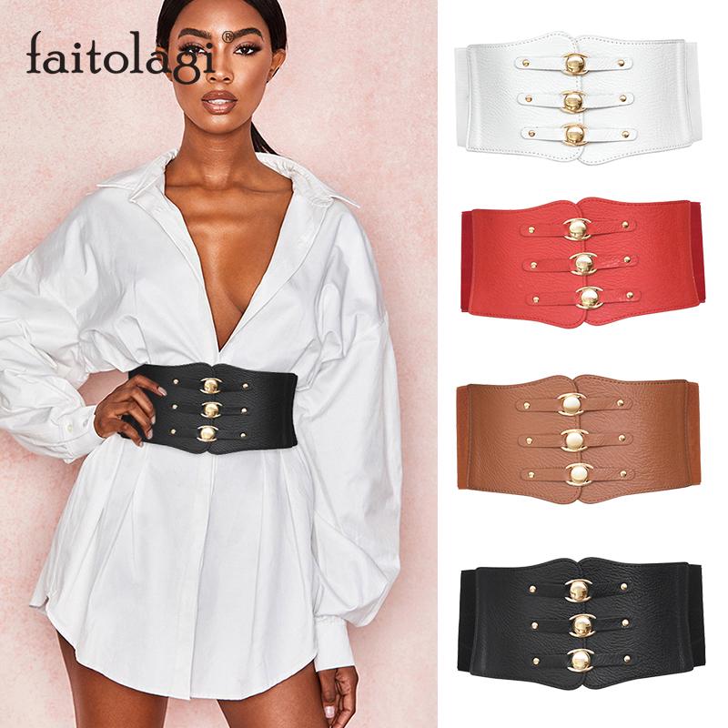Super Wide Waist Belt for Women PU Leather Slimming Body Ladies Dress Belt Elastic White Black Corset Belt Female Waistband
