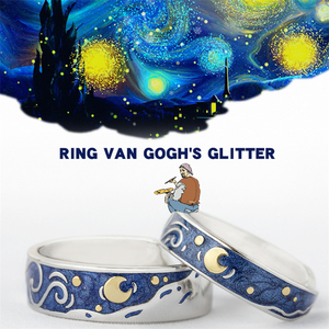 925 Sterling Sliver Starry Night Van Gogh Adjustable Ring Couple Lover's Real Price Most Sold 2019 Drop Shipping Women Jewelry(China)