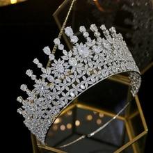 Neue zirkonia tiara braut tiara kristall krone hochzeit kleid haar zubehör luxus hochzeit damen schmuck