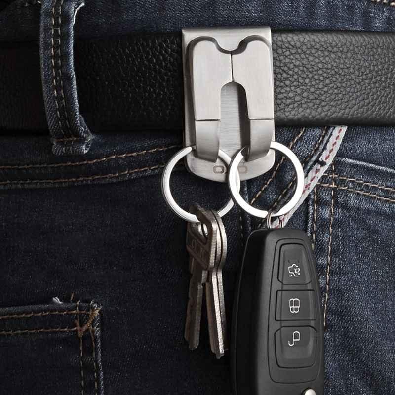 Portachiavi In Acciaio Inox di Sicurezza Clip On Heavy Duty Chiave Cintura Clip da Cintura Portachiavi F3MD