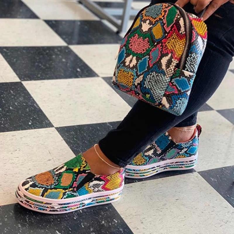 MCCKLE Frau Flache Slip Auf Casual Schuhe Frauen Herbst Turnschuhe Plattform Damen Mode Schlange Weiblichen Komfortable Plus Größe Schuhe