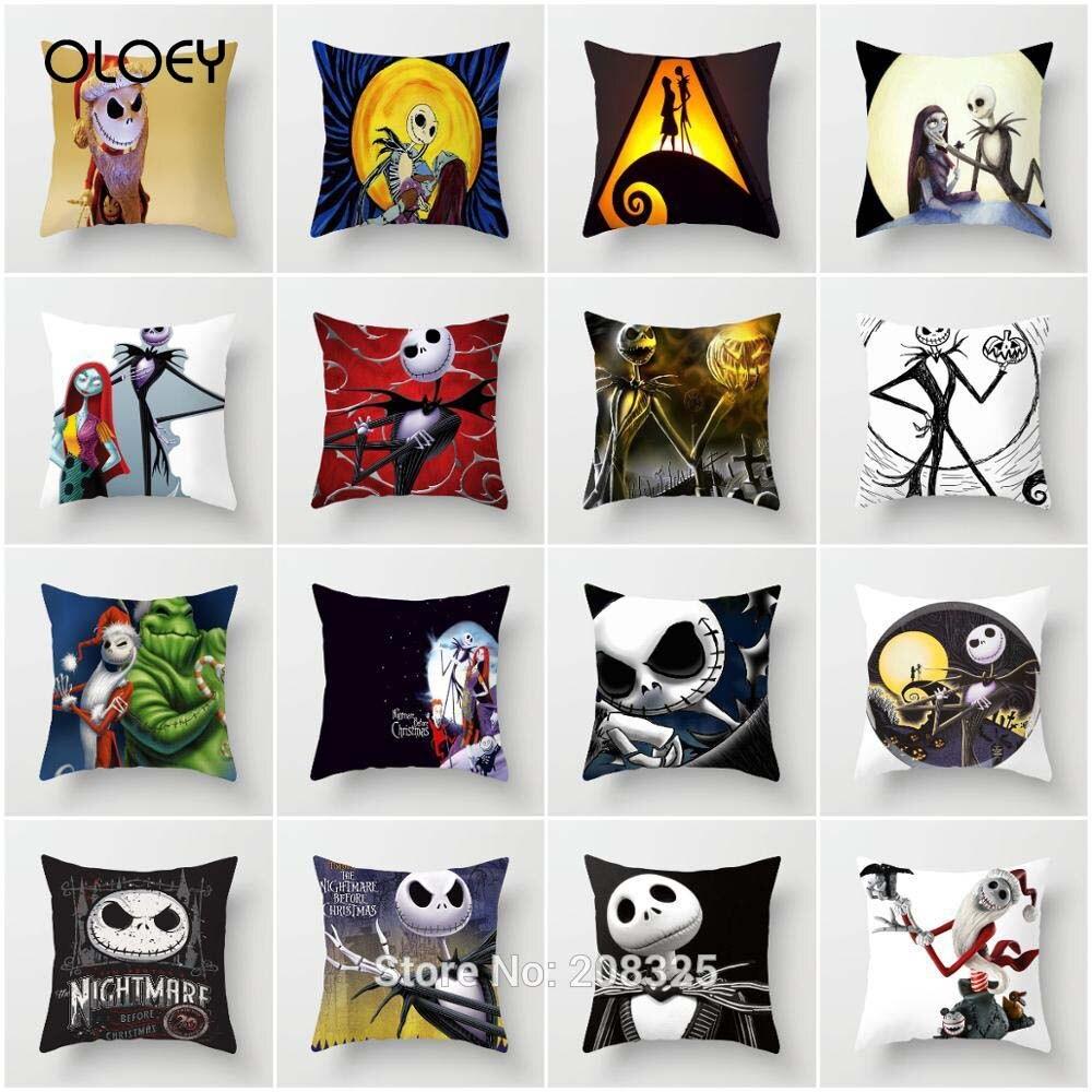 Nightmare Before Christmas Pillowcase  Pillow Cover Polyester Horror Throw Pillows  Decorative Pillow Case Home Decoration   ..