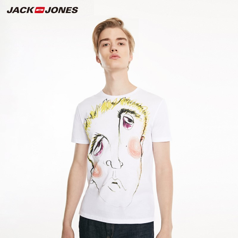 JackJones Men's 100% Cotton Abstract Cartoon Pattern Short-sleeved T-shirt|Streetwear 219101551