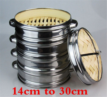 14 to 30cm Stainless Steel Cookware Bamboo Steamer with lid Chinese Kitchen Cookware For Cooking Fish Rise Pasta Vegetables Dim 1