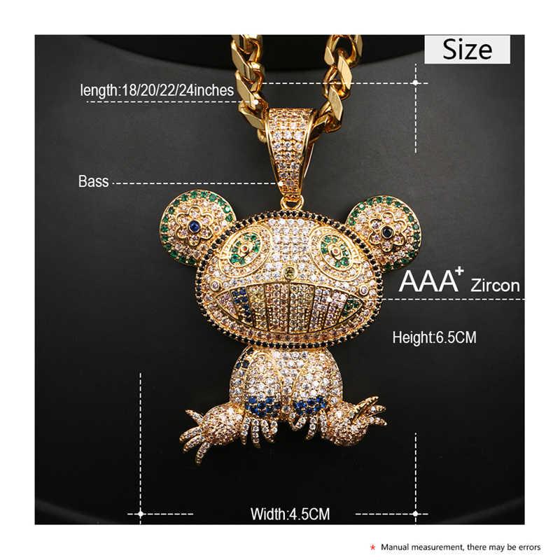 Iced OUT สัตว์ CZ กบที่มีสีสันจี้สร้อยคอทองเงินสีผู้หญิงผู้ชาย Hip Hop Bling Cubic Zircon เครื่องประดับของขวัญ