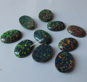 Image 5 - 20 pçs/lote 13x18mm op32 sintético Preto Opala de Fogo Oval Cabochão Opala Pedra para a Jóia DIY