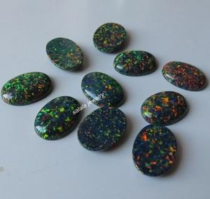 Image 5 - 20 pz/lotto 13x18mm op32 sintetico Nero Opale di Fuoco Ovale Cabochon Opal Pietra per Gioielli FAI DA TE