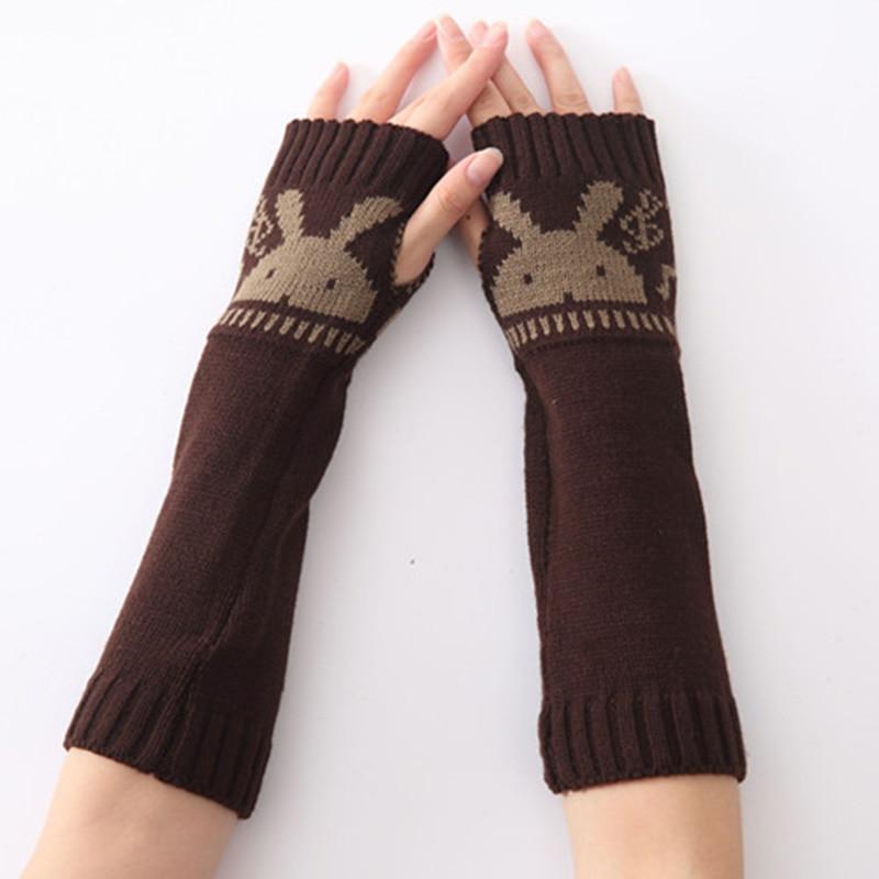 Winter Women Warm Cute Cartoon Rabbit Sleeves Mittens Female Acrylic Stretch Knit Half Finger Fingerless Arm Warmers Gloves C80
