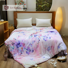 Liv-Esthete Luxury Flower Natural Mulberry Silk Duvet Comforter Filled 100% Four Seasons Quilt Double Queen King Quilts
