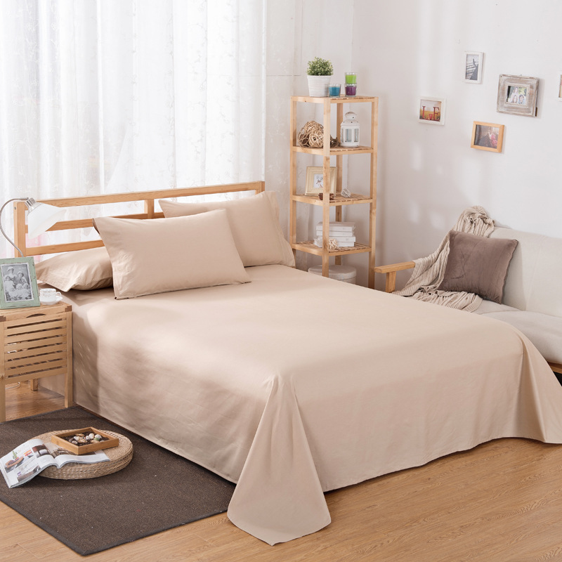 ropa de cama Solid color polyester cotton bed sheet hotel home soft brushed flat sheet queen bed cover not included pillowcase 20