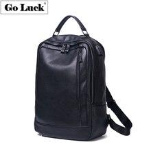 GO-LUCK Brand Solid Black Genuine Leather 15.6' Computer Laptop USB Backpack Men Travel Business OL Bags Student School Bag