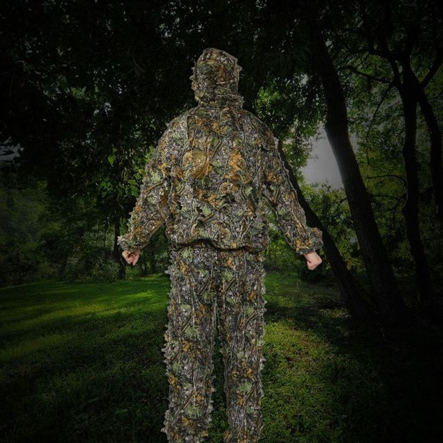 Hunting clothes New 3D maple leaf Bionic Ghillie Suits Yowie sniper birdwatch airsoft Camouflage Clothing jacket and pants 5