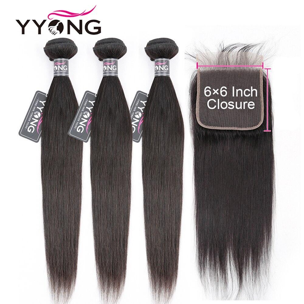 Cabelo reto brasileiro 3 pacotes com fechamento, 6x6 fechamento com pacotes remy 8-30 polegada pacote do cabelo humano com fechamento do laço