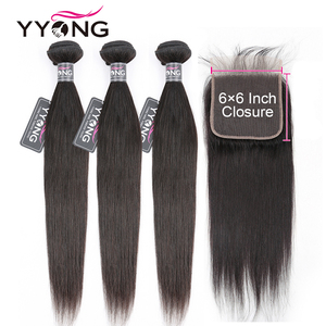 Brazilian Straight Hair 3 Bundles With Closure, 6x6 Closure With Bundles Remy 8-30inch Human Hair Bundle With Lace Closure(China)