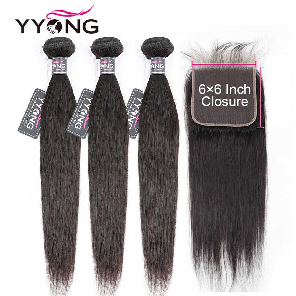 Brazylijski proste włosy 3 zestawy z zamknięciem, 6x6 zamknięcie z wiązkami Remy 8-30 cal pasmo ludzkich włosów z zamknięcie koronki