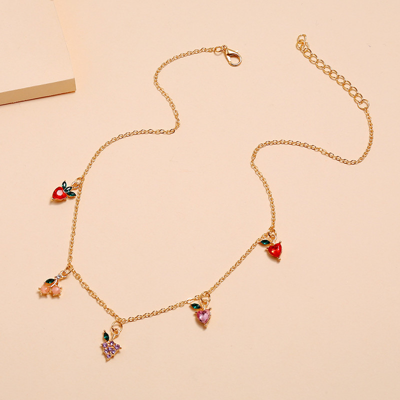 Sweet Women Fashion Crystal Apple Cherry Grape Fruits Necklace Exquisite Gold Chain Necklace Jewelry Gifts