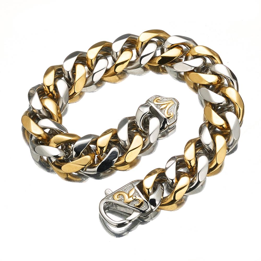 Fashion Wrist Chunky Men 39 s Bracelets Silver Gold Tone Hand Chain Curb Link Jewelry For Mens Gift Pulseiras masculinas in Chain amp Link Bracelets from Jewelry amp Accessories