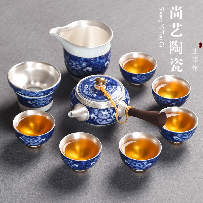 Jingdezhen Ceramic Silver Kung Fu Tea Set Blue And White Porcelain Japanese Household Sterling Silver Side Handle Pot Cup