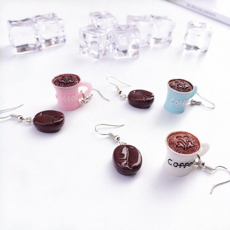 WO/_ HOT WOMEN FUNNY COFFEE BEAN CUP DRINK DROP DANGLE HOOK EARRINGS JEWELRY SMAR