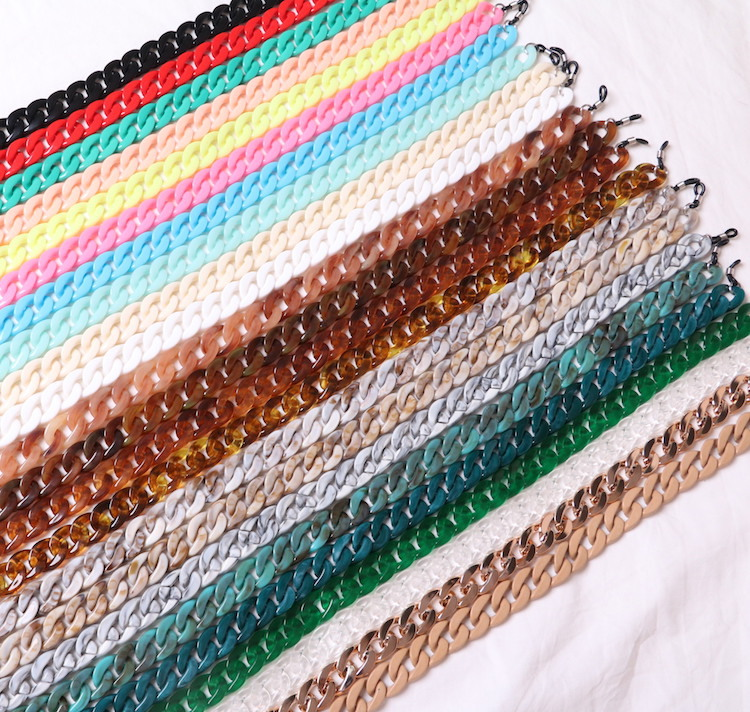 5 Colors Fashion Women Eyeglass Chains Wide Acrylic Chains Anti-slip Eyewear Cord Holder Neck Strap Reading Glasses Rope