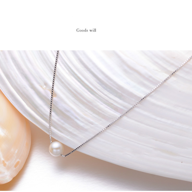 Perle d'eau douce pendentif collier S925 rose unique perle pendentif chaîne ronde éblouissement Simple bijoux pour petite amie cadeau