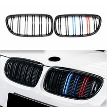 A Pair For BMW E90 E91 Gloss Black M-Color Car Front Grille Grilles Double Line Grills 2009 2010 2011 2012 Auto Accessories