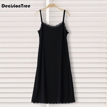 2019 large full slips women long gown sheer black underdress sexy nightdress transparent backless intimates