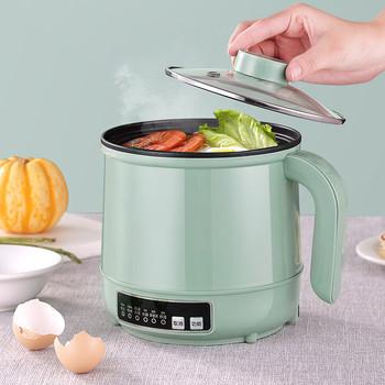 Wielofunkcyjne elektryczne urządzenie do gotowania ogrzewanie Pan elektryczny gar do gotowania maszyna do Hotpot makaron jaj zupa do gotowania na parze Mini kuchenka do ryżu tanie i dobre opinie HAIMAITONG NONE CN (pochodzenie) Zupa gulasz 600W 110V 220V Stainless steel Steam Fry Rice Stew
