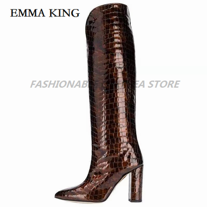 Sexy Crocodile Skin Leather Over the Knee Boots Pointed Toe Chunky Heels Thigh High Boots Sexy Purple Long Boot for Woman 2020 - 5