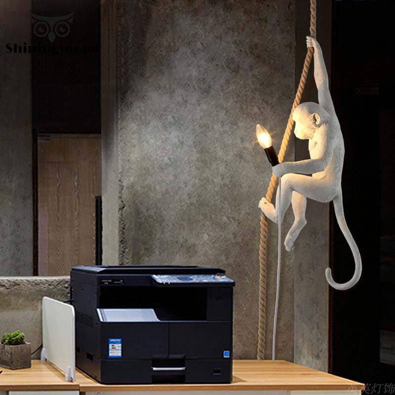 Modern Monkey lamp LED Pendant Lights Lighting 7Color Rope Art Nordic Replicas Resin Seletti Hanging Lamp Monkey Lamp luminaire