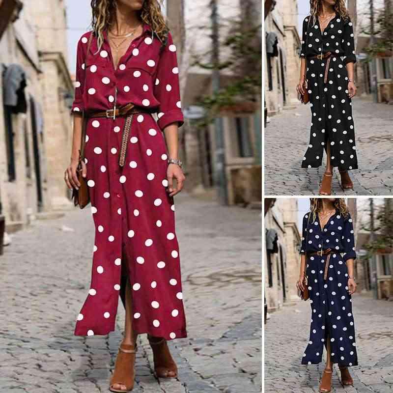 Áo Đầm Maxi Dài Bohemian Vestidos ZANZEA 2020 Thời Trang Dép Nữ Lưng Nút Sundress Chấm Bi In Hình ĐẦM DỰ TIỆC 7