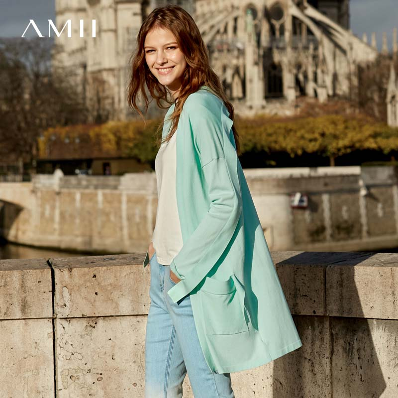 Amii Minimalism Spring Solid Knit Coat Women Causal Loose Cardigan 11930012