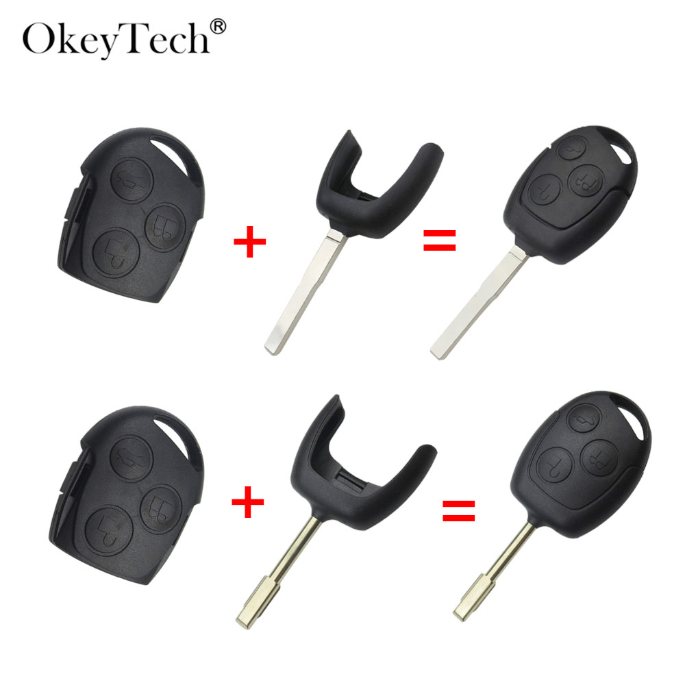 Okeytech 3 Buttons Replacement Car <font><b>Key</b></font> Shell Case Cover <font><b>For</b></font> <font><b>Ford</b></font> Mondeo <font><b>Focus</b></font> 2 3 Festiva Fiesta Transit <font><b>Remote</b></font> <font><b>Key</b></font> Blade image