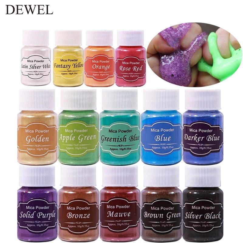 Mica Powder Epoxy Resin Dye 14 Colors Powder Pigments For DIY Arts, Crafts , Paint, Nail Polish, Soap Making, Coloring Mix