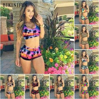 New Sexy Coconut Tree Print Bikini Women Swimsuit Leopard Bathing Suit S-XL High Waist Swimwear Girl Trikini Set