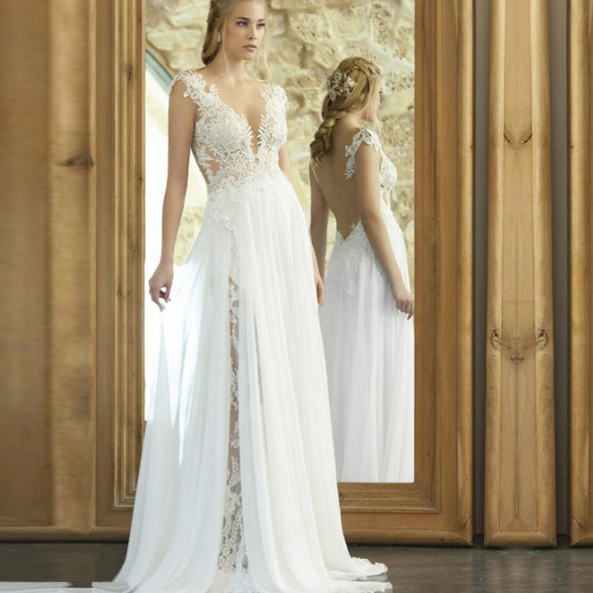 Chiffon A-Line Sexy Wedding Dresses Lace Appliques Floor Length Backless Bridal Gown Sleeveless Vestido De Noiva Custom Made