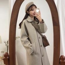 Шерстяное Женское пальто популярное осенне-зимнее Новое Стильное элегантное толстое Стеганое пальто средней длины в стиле ретро Хепберн